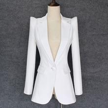 トップ品質 2020 新スタイリッシュなデザイナーブレザー女性のすくめショルダーシングルボタン白ブレザージャケット