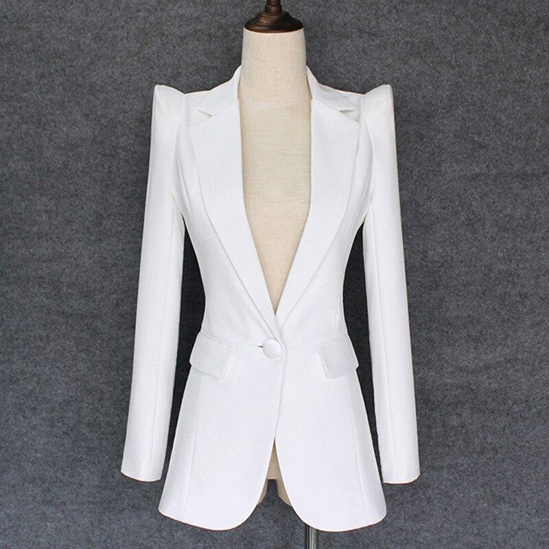 TOP QUALITY 2019 New Stylish Designer Blazer Women's Shrug Shoulder Single Button White Blazer Jacket