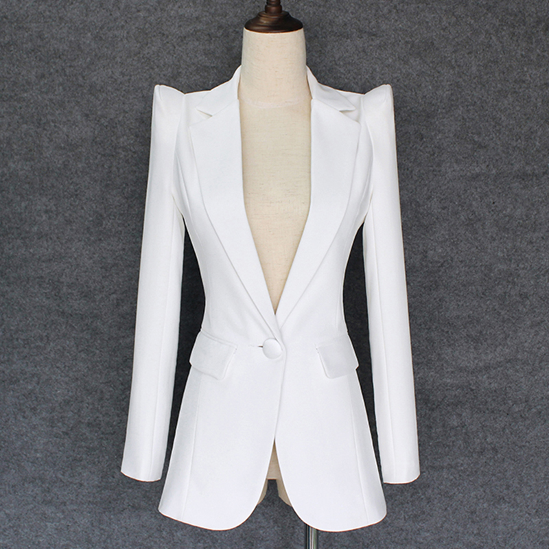 TOP QUALITY 2020 New Stylish Designer Blazer Women's Shrug Shoulder Single Button White Blazer Jacket