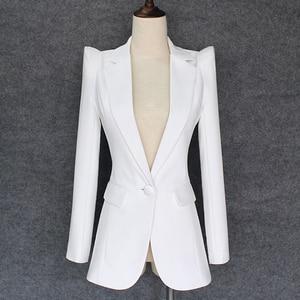 Image 1 - TOP QUALITY 2020 New Stylish Designer Blazer Womens Shrug Shoulder Single Button White Blazer Jacket