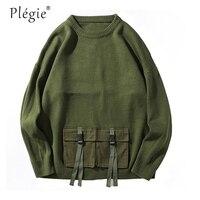 Plegie Men Sweater Pullover Hip Hop Ribbon Double Pocket Knitted Sweater Streetwear Vintage Loose Sweaters 2018 Autumn Cotton