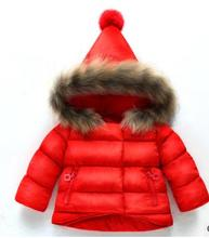 купить Winter Hooded Jacket For Girls Children Outfits Kids Girls Coat Warm Raccoon fur collar Cotton-padded Clothes Snowsuits ZFD001 дешево