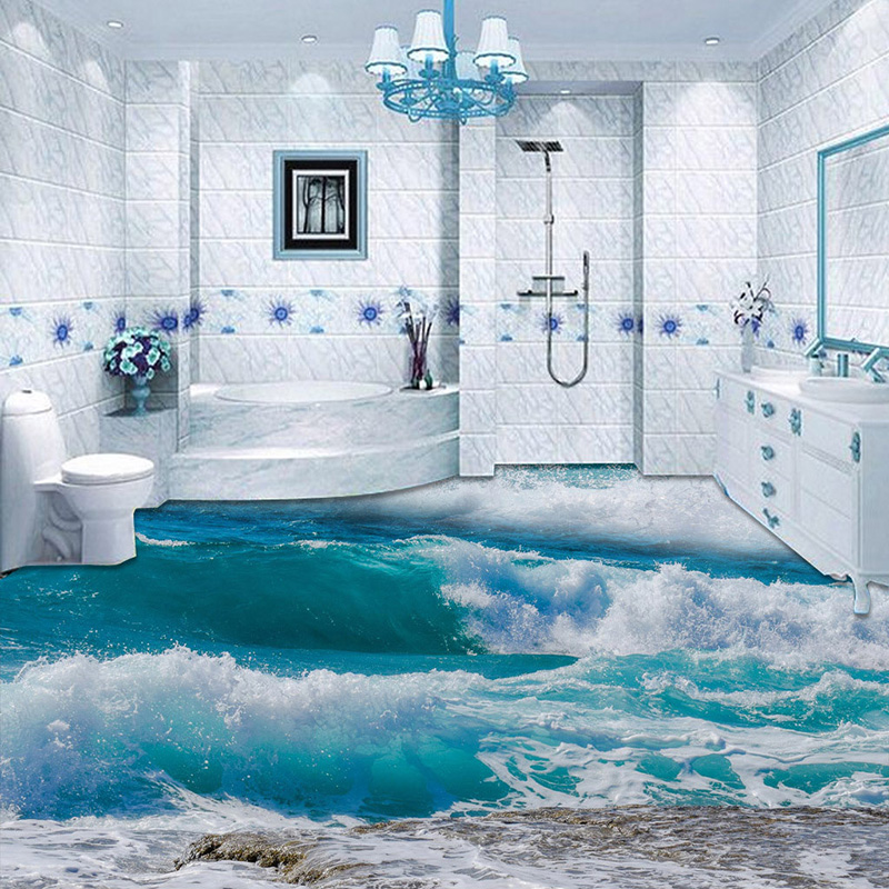 US $13.83 50% OFF|PVC Selbst Klebstoff Wasserdicht 3D Boden Fliesen Tapete  Moderne Meerwasser Meer Welle Foto Wandmalereien Bad Schlafzimmer Tapeten  ...