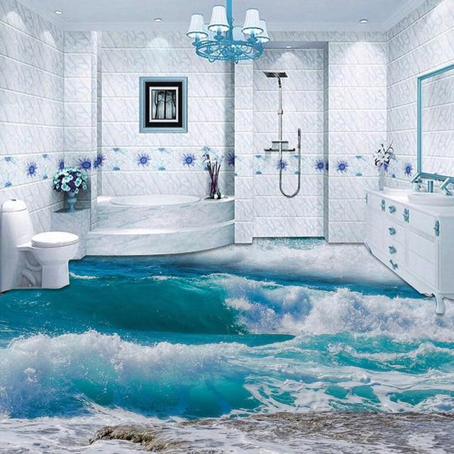 Superior PVC Self Adhesive Waterproof 3D Floor Tiles Wallpaper Modern Seawater Sea  Wave Photo Murals Bathroom Bedroom