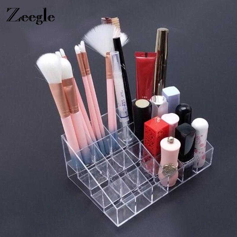 24 Transparent Lipstick Bracket Makeup Organizer Storage Box Cosmetic Box Lipstick Jewelry Box Case Holder Display Stand