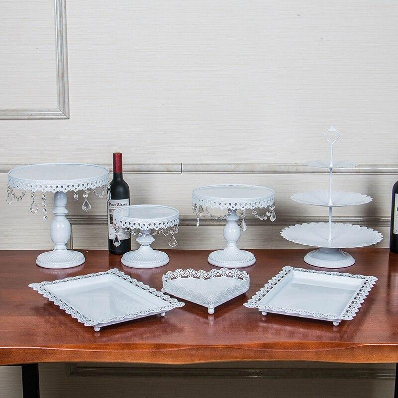 Золото железа Металл Торт Стенд набор 7 штук свадьба кекс лоток День Рождения украшения торта инструменты формы для выпечки Посуда