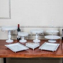 Gold Eisen metall kuchen ständer set 7 stück hochzeit kuchen-fach platte geburtstagsfeier-kuchen-dekoration werkzeuge backformen geschirr