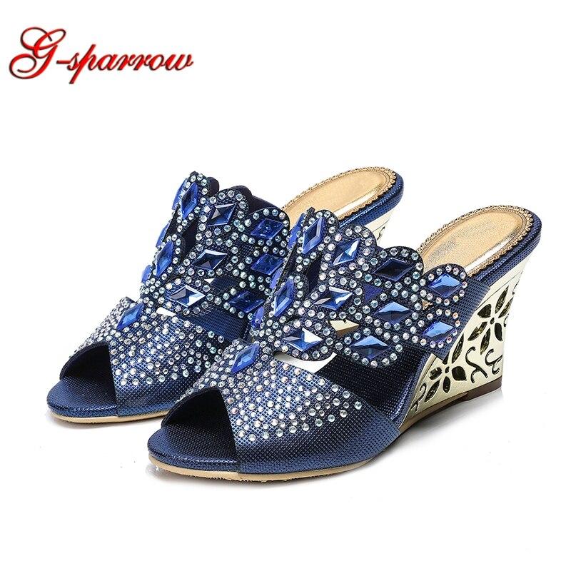 Kobiety letnie sandały niebieski Rhinestone sandały na koturnie 2019 nowy koreański luksusowe diament Sexy buty na wysokim obcasie kwiaty buty z kryształkami w Kapcie od Buty na AliExpress - 11.11_Double 11Singles' Day 1
