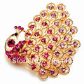 2.5 Inch Gold Plated Hot Pink Rhinestone Crystal Diamante Large Peacock Party Brooch prom Jewelry Pin