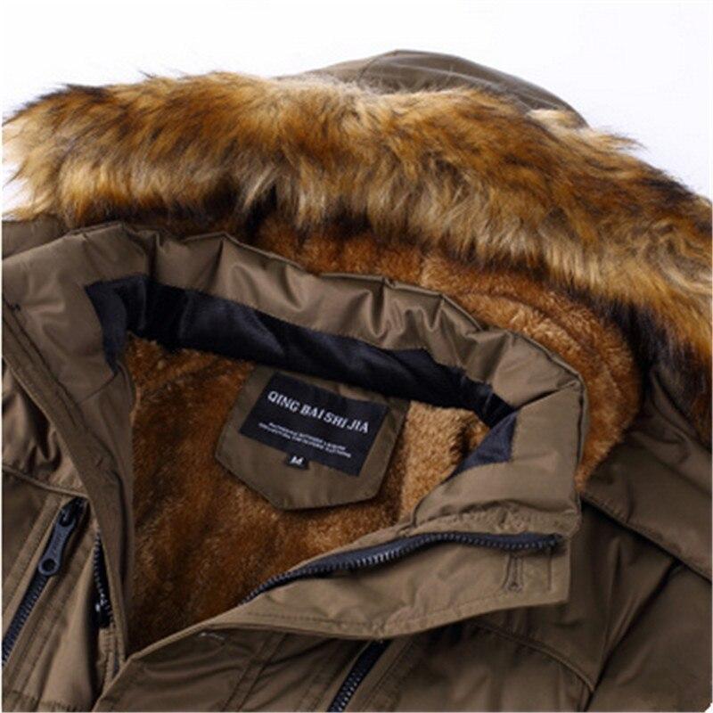 Новые модные зимние длинные хлопковый костюм мужчин плюс бархатные толстые теплые пальто среднего возраста папа носить свободные с капюшо... - 5