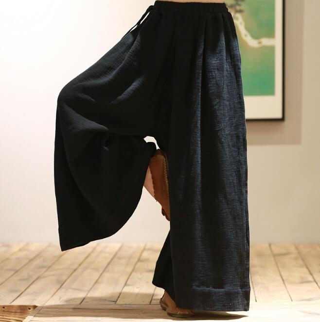 Spring and Autumn Loose Large Size Casual   Pants   Ladies Cotton Linen Black   Wide     Leg     Pants   Sexy Ankle-Length Culottes   Pants