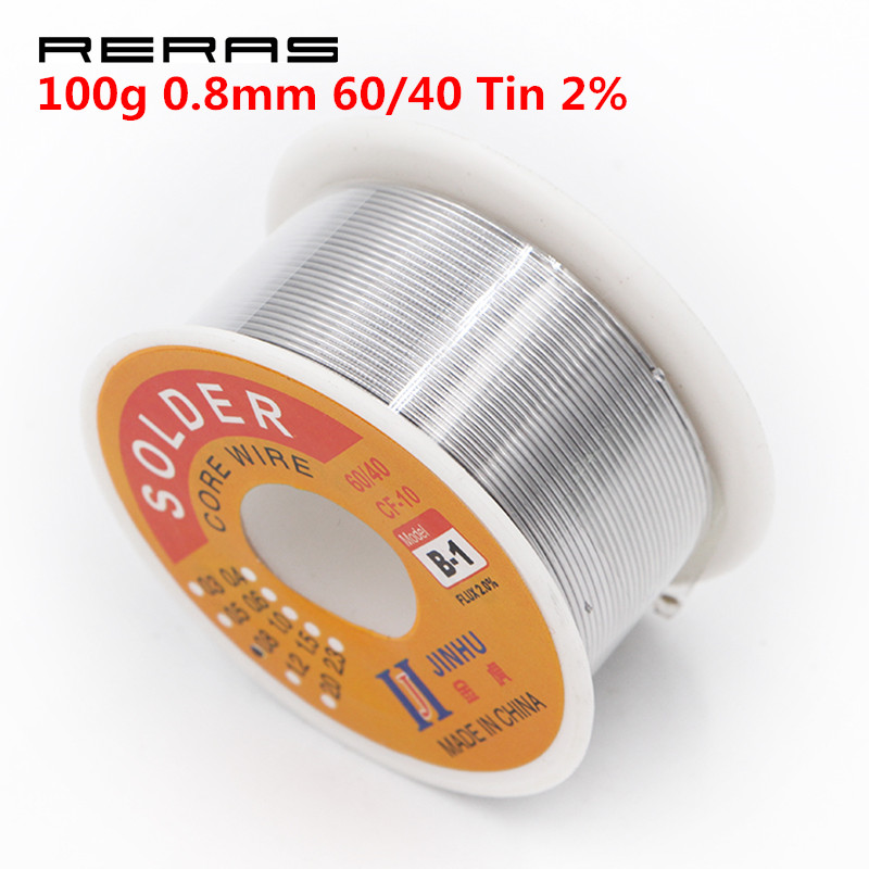100g 0.8mm 60/40 Tin Lead Solder Wire Rosin Core Soldering 2% Flux Wire Reel Tube Tools Parts Tool Set