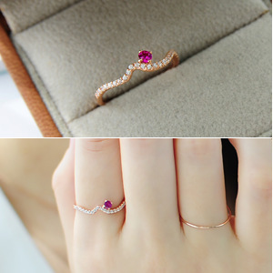 M S Jewellery Box Delicate Rose Gold Wave Shaped Lady Ring