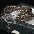 Gris electrochapa cristal 6mm ronda perlas pulseras de múltiples capas para las mujeres diseño original elegante del envío libre diy joyería B2244