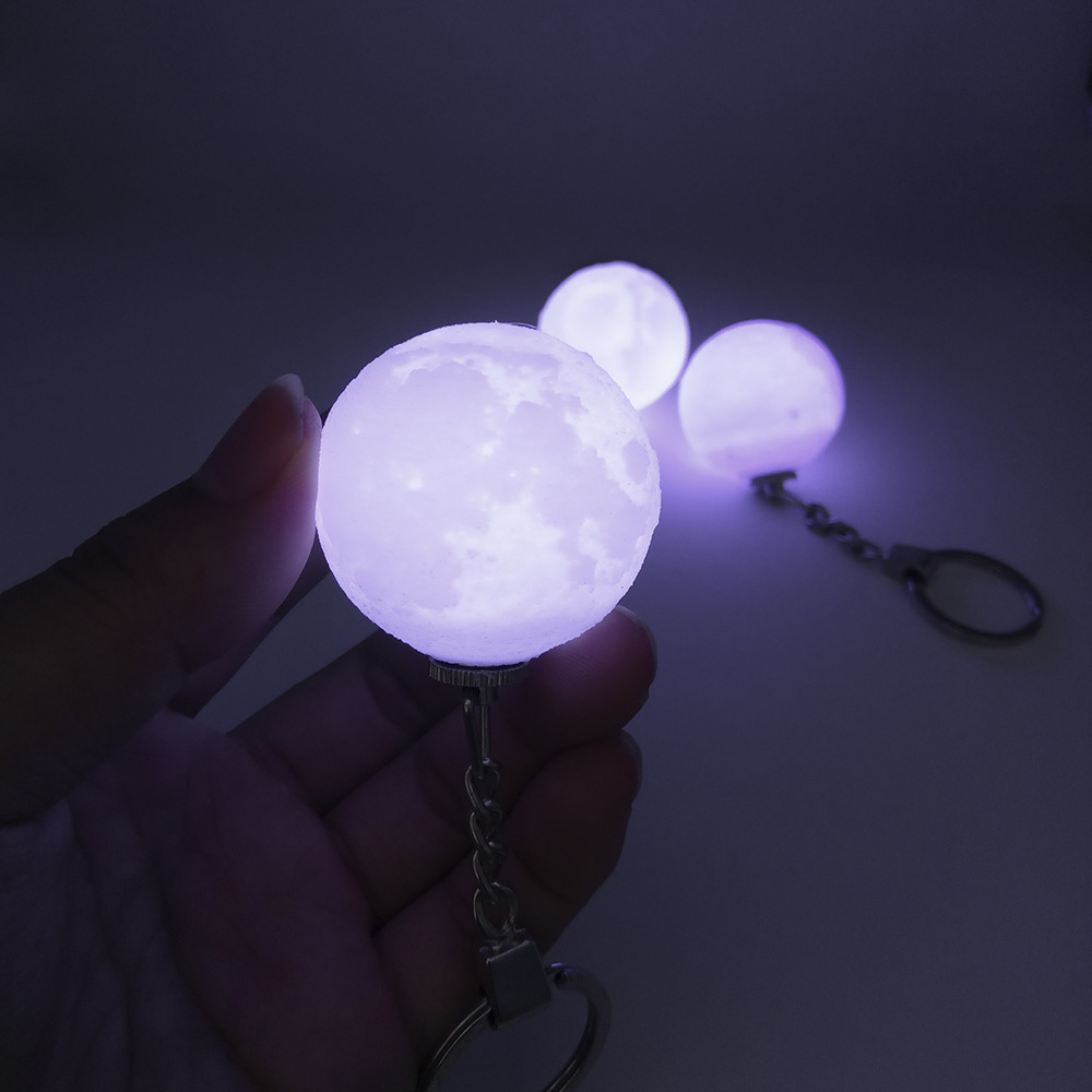 New Creative Keychain Mini 3D Print Moon Light Mini Moon Nightlights Battery Powered Lamp For Xmas birthday present Chaveiro ...
