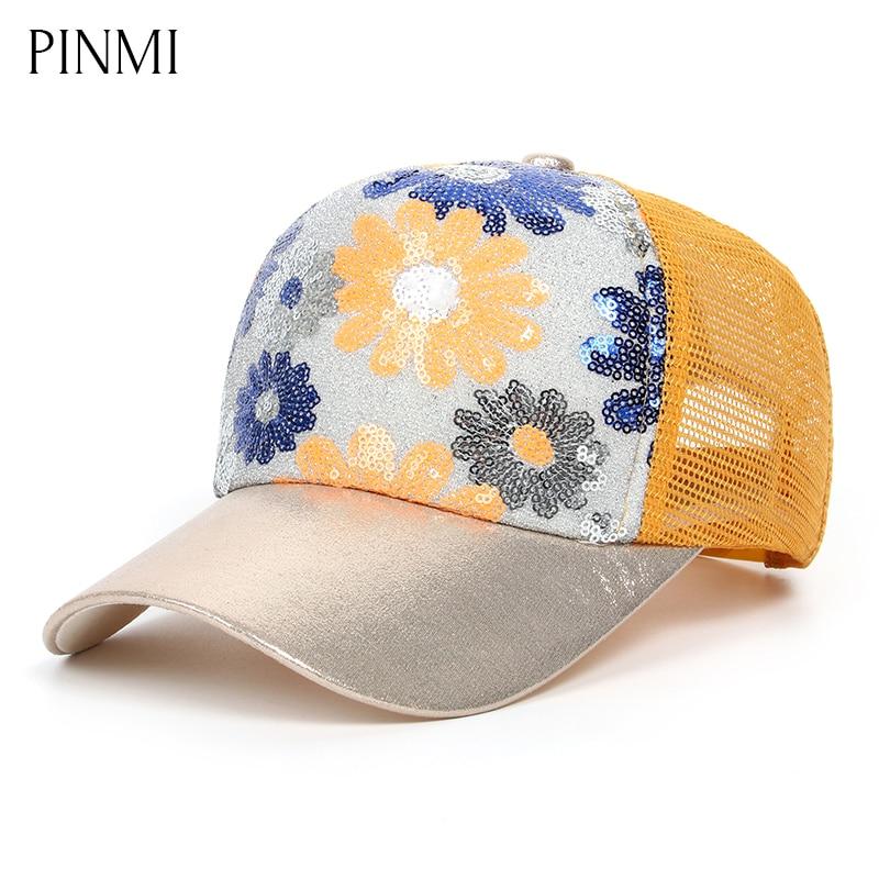 PINMI Sunflower Pattern Mesh Cap Women Novelty Colorful Sequins Snapback Cap Brand Sun Breathable Net Baseball Cap for Girl Gift