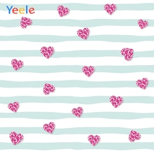 Yeele Wallpaper Claret Love Heart White Blue Stripe Photography Backdrops Personalized Photographic Backgrounds For Photo Studio