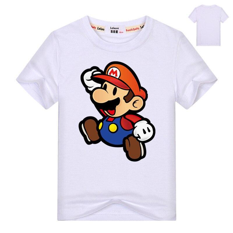 2021 Mario Cartoon Game T-shirt Kids Hip Hop Short Sleeve TShirts Boys Girls Super Mario Tee Shirts Casual Basic Tops 3-13y 2