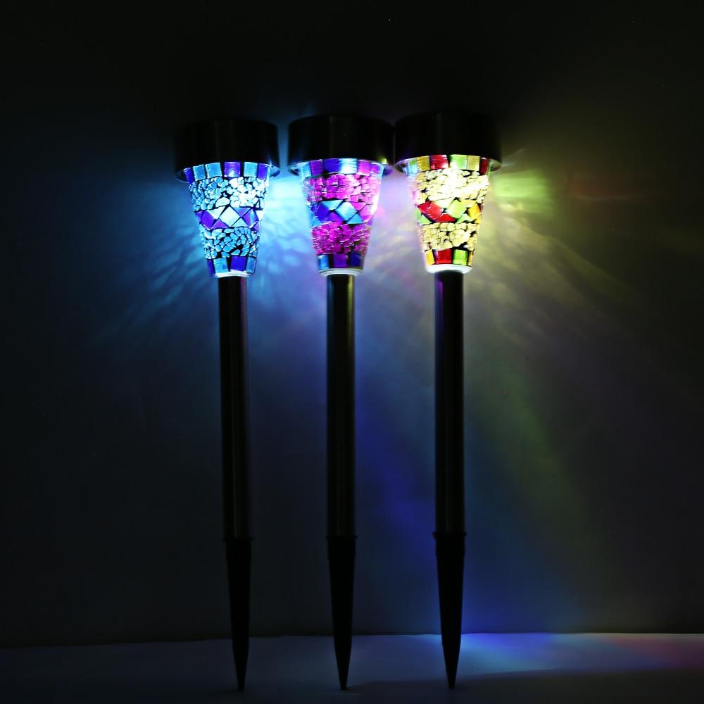 Solar Power Lights 3pcs Outdoor Mosaic LED Stainless Steel Emergency Portable Lamp Modern Garden Lawn Lamp Decoration Lighting