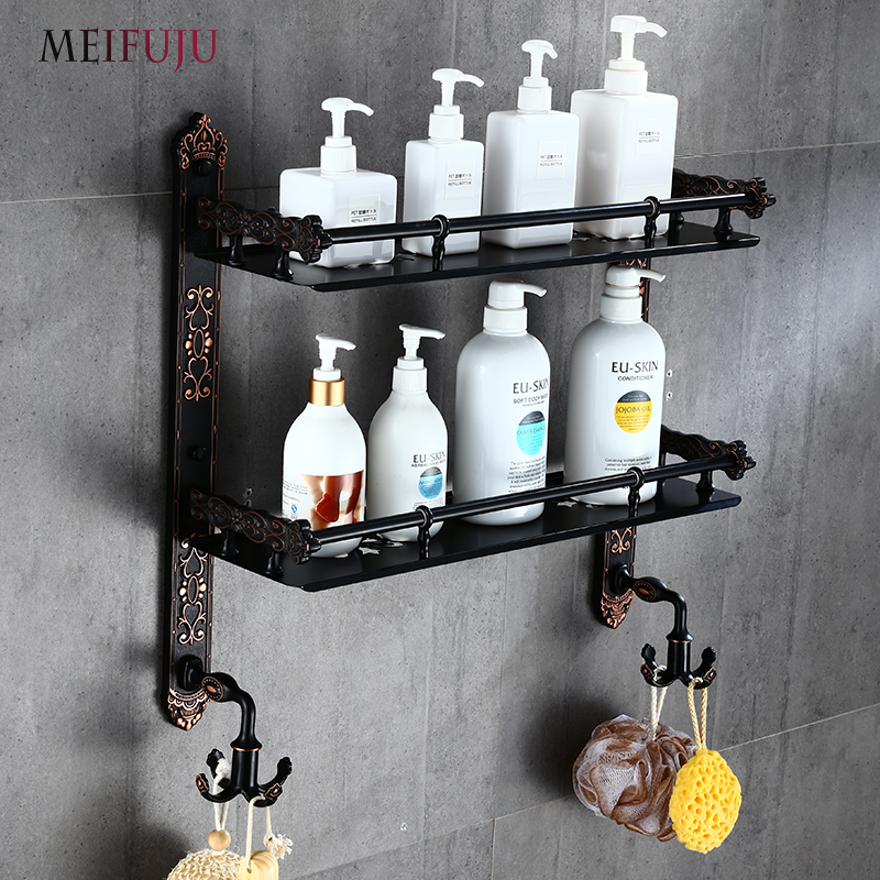 MEIFUJU Aluminum Bathroom Shelf Black Gold Bathroom Shelves Rack With  Swivel Hooks Dual Tier Wall Mounted Antique Corner Shelves In Bathroom  Shelves From ...