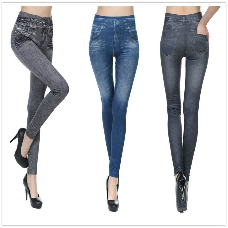 Sales Winter Leggings Jeans for Women Denim Pants with Pocket Slim Jeggings Fitness Plus Size Leggings S-XXL Black/Gray/Blue
