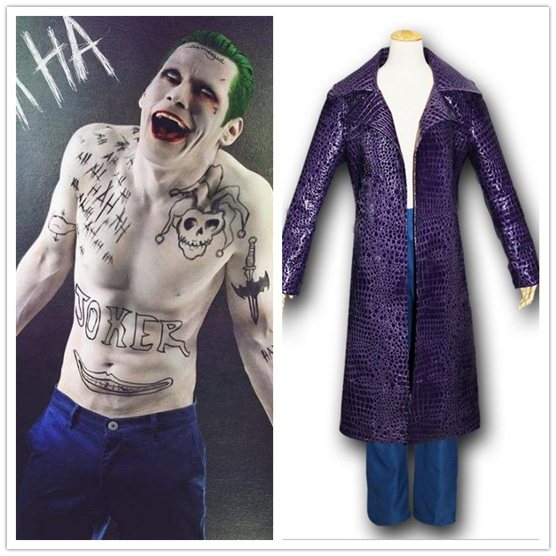 Free Shipping Movie Suicide Squad Jared Leto Joker Cosplay Carnival Cosplay Costume Halloween Party Coats Jacket Pants Suits