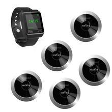 Гость пейджер SINGCALL с беспроводной системой вызова и системой управления, 1 пейджер для мобильных часов и 5 одиночных кнопок