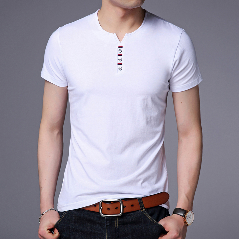 2020 New Fashion Brand T Shirt Mens V Neck Solid Color Summer Tops Streetwear Trends Top Grade Short Sleeve T-Shirt Men Clothes