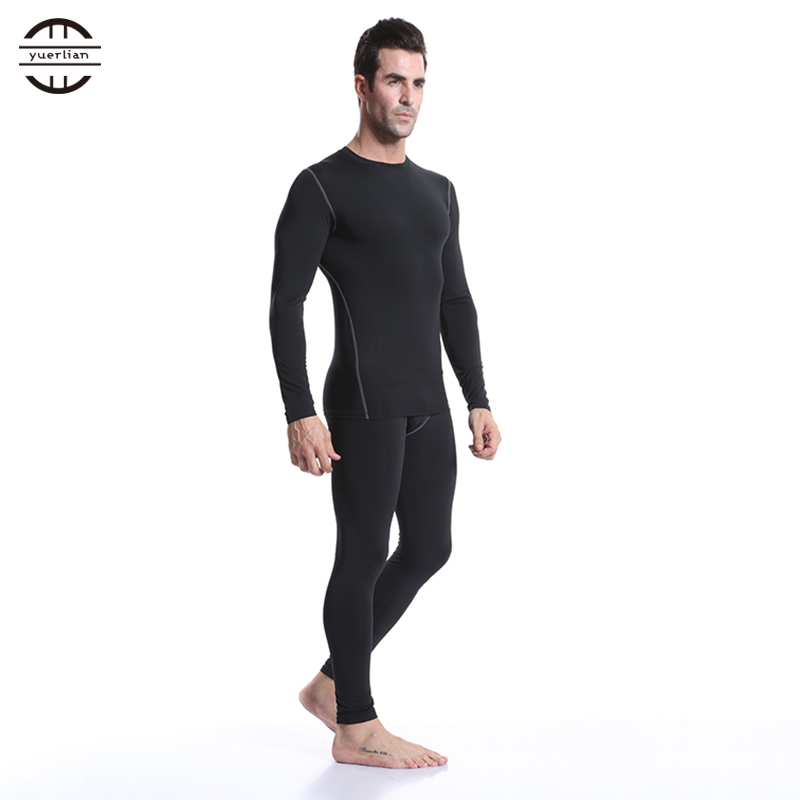 Image 3 - Yuerlian 2 pcs Fitness Tights Running Set Quick Dry Gym Sportswear Long Sleeve T Shirt Legging Pants Tracksuit Men Sports Suits-in Running Sets from Sports & Entertainment on AliExpress