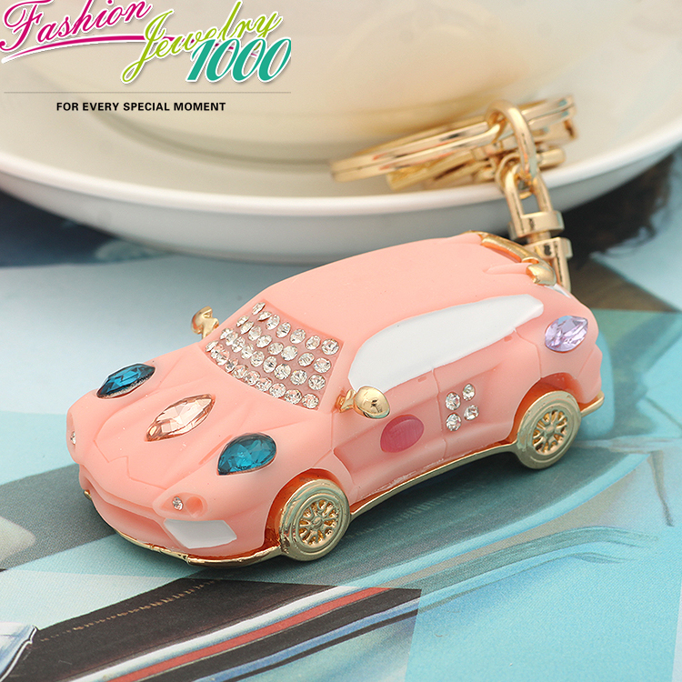 New Luxury Long Crystal Mini Car Keychain Fashion Rhinestone Trinkets Metal Key Chain For Women Bag