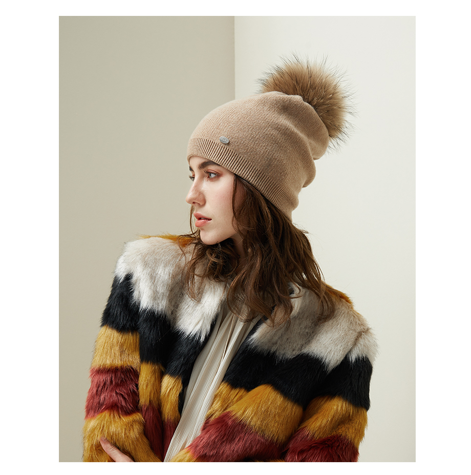 Autumn Winter Beanies Hat For Women Knitted Wool Skullies Casual Cap With Real Raccoon Fox Fur Pompom Solid Colors Ski Beanie (9)