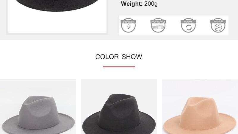 3a6900f644501 Hombres sombreros de color sólido sombreros grandes a lo largo del sombrero  clásico gran tamaño 60 cm hombres y mujeres universal ajustable hombre  fedora ...