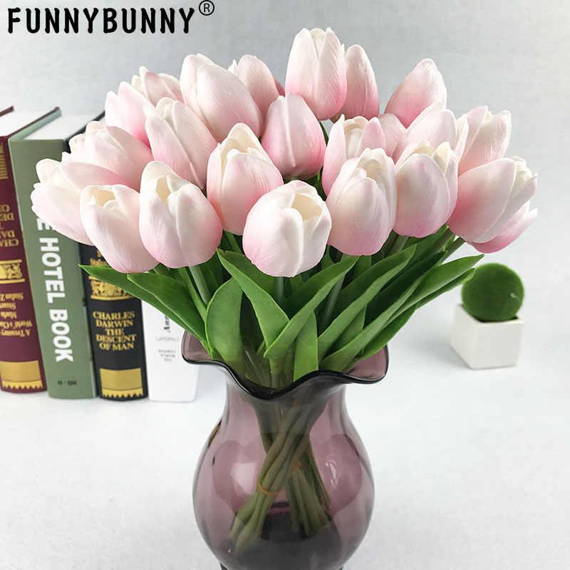 10 unids/bolsa PU Holanda Mini tulipán Artificial flor Real táctil tulipán para boda, hogar, Hotel, decoración de fiesta regalo del Día de San Valentín