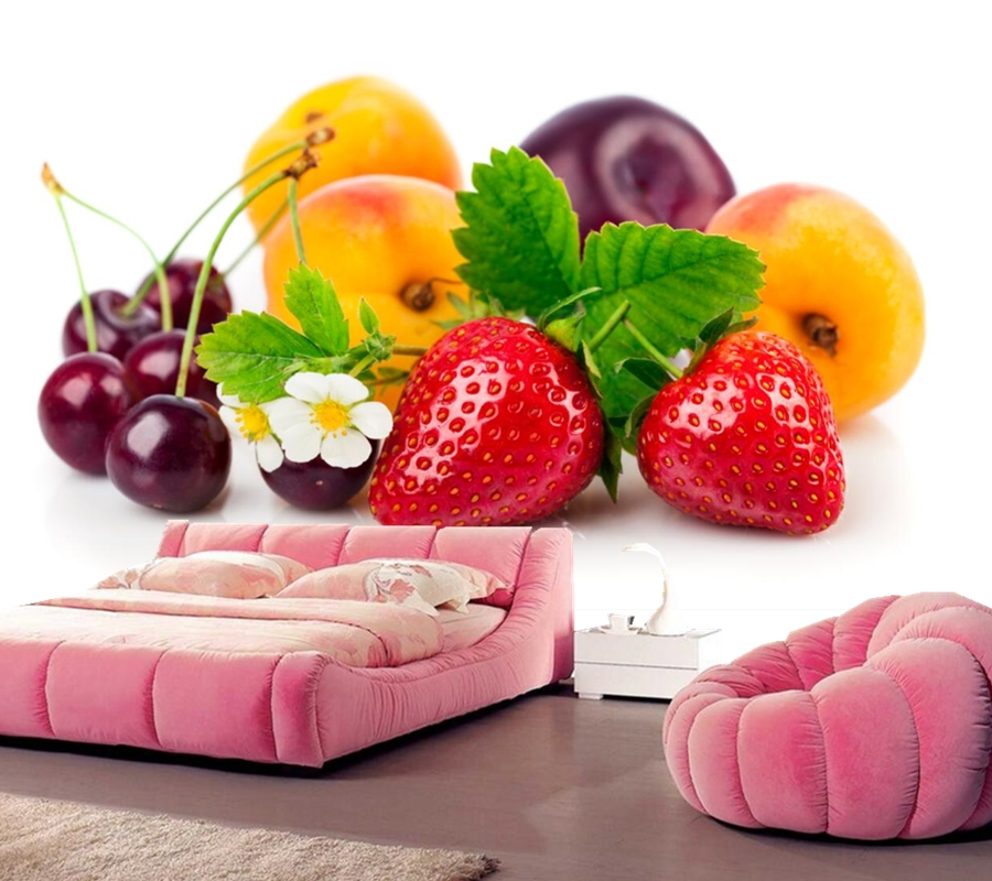 Strawberry Peaches Cherry Plums Food wallpaper,restaurant bar living room sofa TV wall kitchen bedroom 3d photo wallpaper mural large mural living room bedroom sofa tv background 3d wallpaper 3d wallpaper wall painting romantic cherry