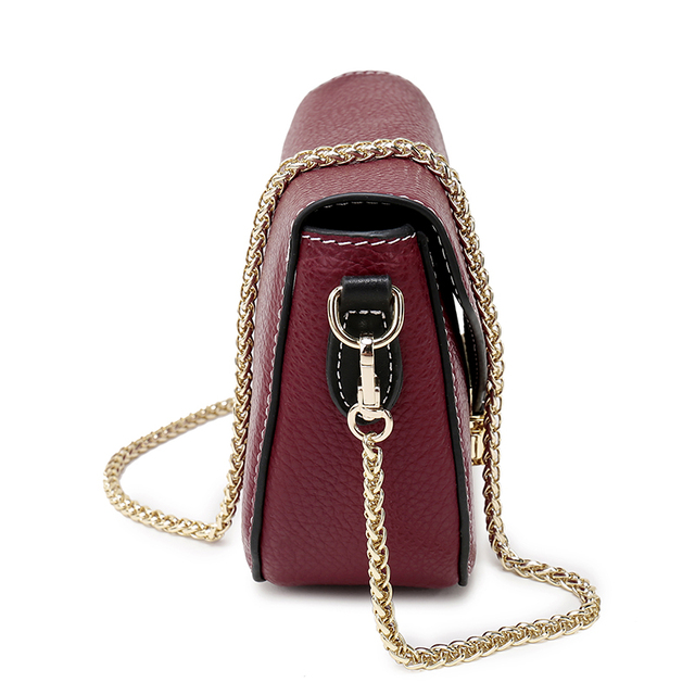 Nuleez Saddle Small Gold Chain Bag Candy Color Genuine Leather Crossbody Bags Women Day Clutch Pink Red Blue Messenger Bag 1101