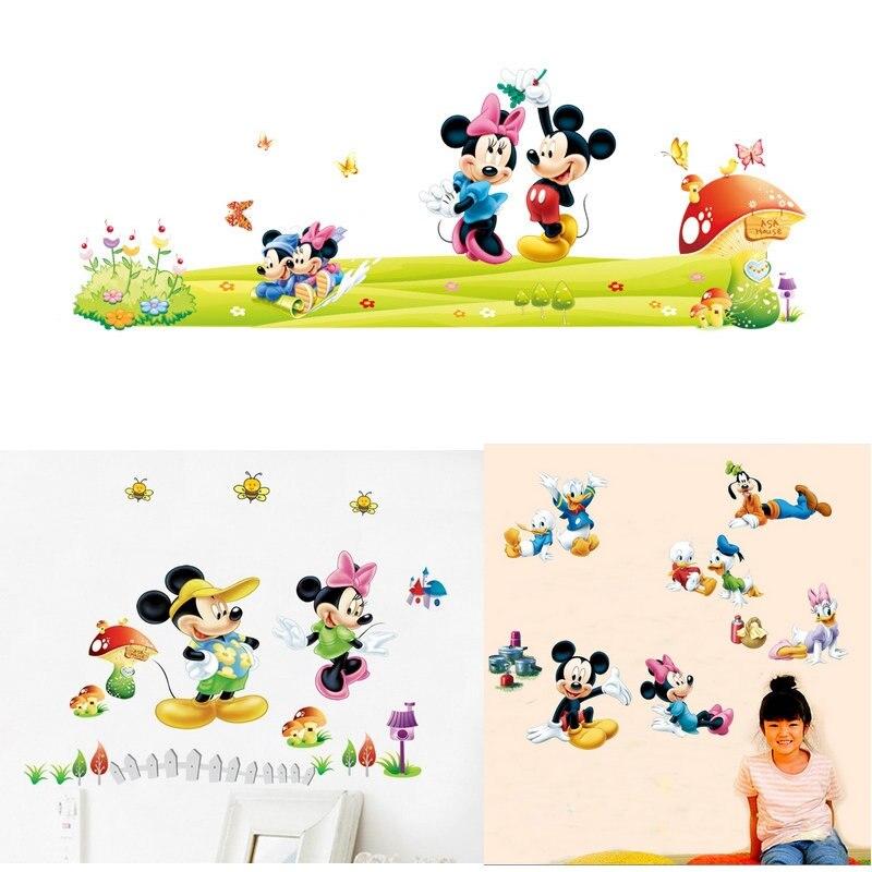 US $0.81 22% OFF|Neue Mickey Maus Minnie Maus wand aufkleber für kinder  kindergarten dekoration diy abnehmbare vinyl tapete dekorationen-in ...