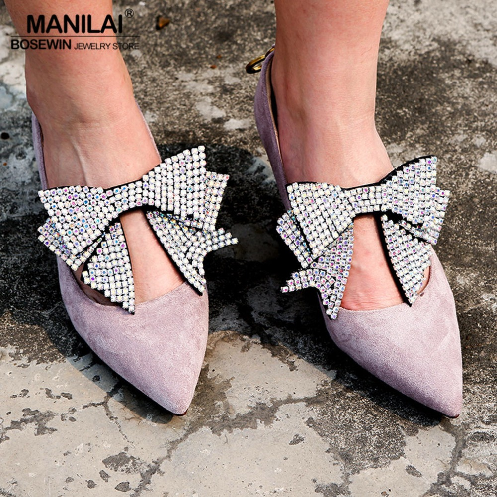 MANILAI 4 Colors Luxury Rhinestones Bowknot Charm Anklets Bracelet Shoes Accessories Women Foot Jewelry Anklet Wedding Party 17km bohemian wave anklets for women vintage multi layer bead anklet leg bracelet sandals boho diy summer charm jewelry