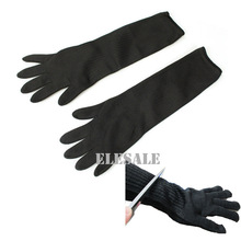 1 Pair Black Working Safety Gloves 19″ Long Cut-Resistant Protective Stainless Steel Wire Butcher Anti-Cutting Gloves