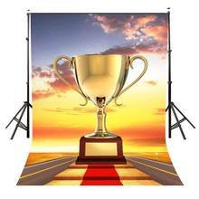150x220cm A Huge Golden Trophy Backdrop Stairs Leading to Victory Photography Background Studio Props