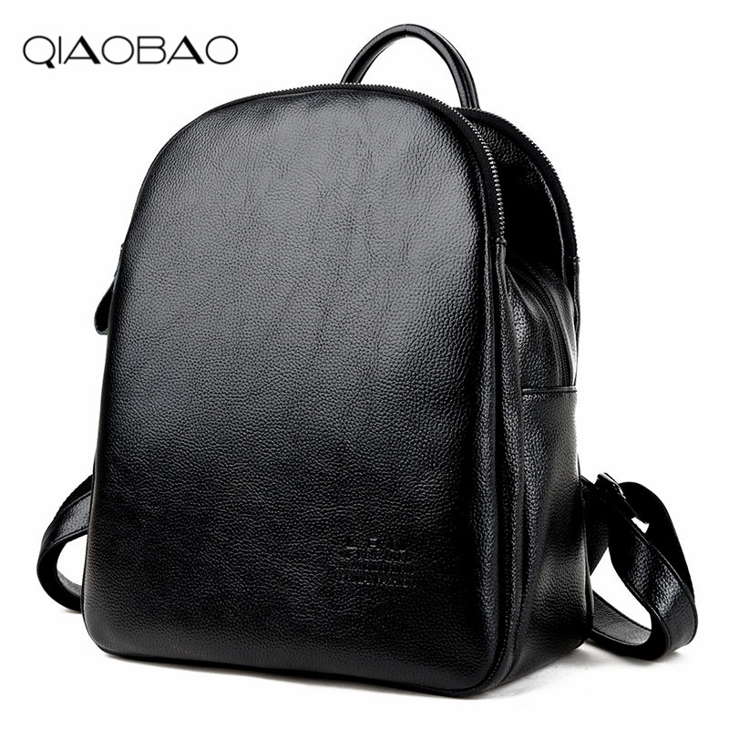 QIAOBAO 2018 Women Leather Backpack Women Double Shoulder Bags Backpacks For Teenage Girls Mochila Bolsa
