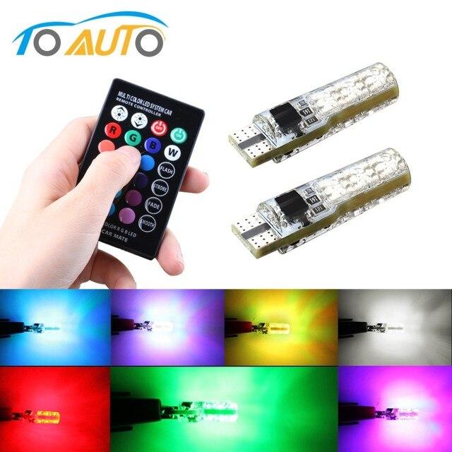 سيارة أضواء الإشارة T10 w5w Led لمبة 12 فولت السيارات الداخلية ضوء w5w T10 Led مصابيح مصابيح سيارات التخليص RGB مع جهاز التحكم عن بعد 12 فولت