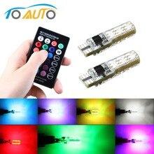 רכב אות אורות T10 w5w נורת Led 12V אוטומטי פנים אור w5w T10 Led מנורות נורות לרכב עמילות RGB עם שלט רחוק 12V