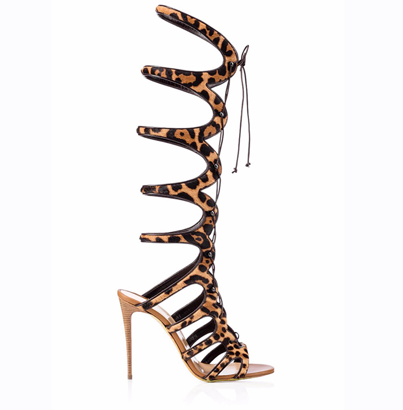 Women Sandals 2017 Summer Sexy Peep Toe Leopard Knee High Lace Up Gladiator High Heels Sandals Boots Party Shoes Size 4-15.5