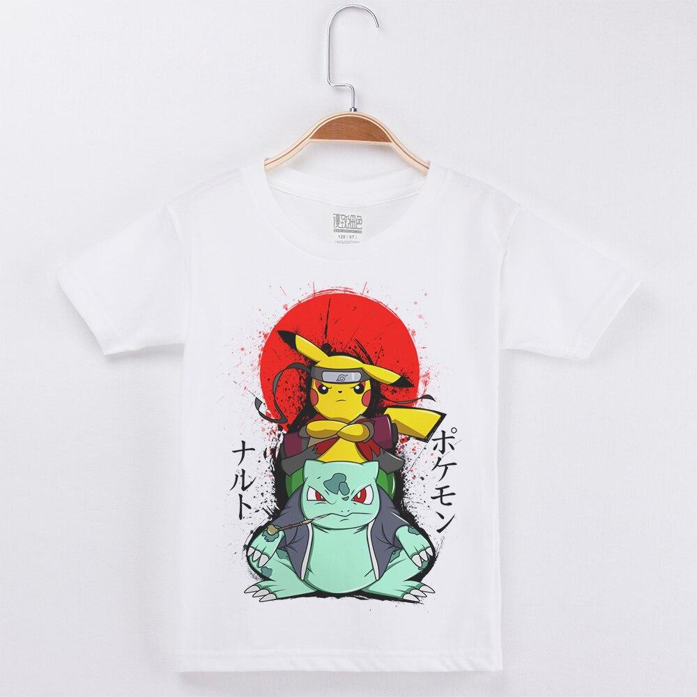 Crianças T-shirt Branca 100% Algodão Tecido de Manga Curta Engraçado Pokemon camiseta Meninos Crianças Roupas de Verão 2019 Meninas Do Bebê Roupas