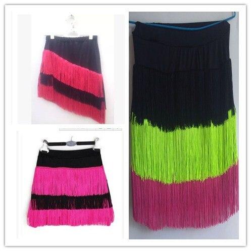 Girls Latin Dance Performances Tassel Skirt Adult Children Practise Dance Skirt Dance Fringe Skirt Latin Ballroom Costume