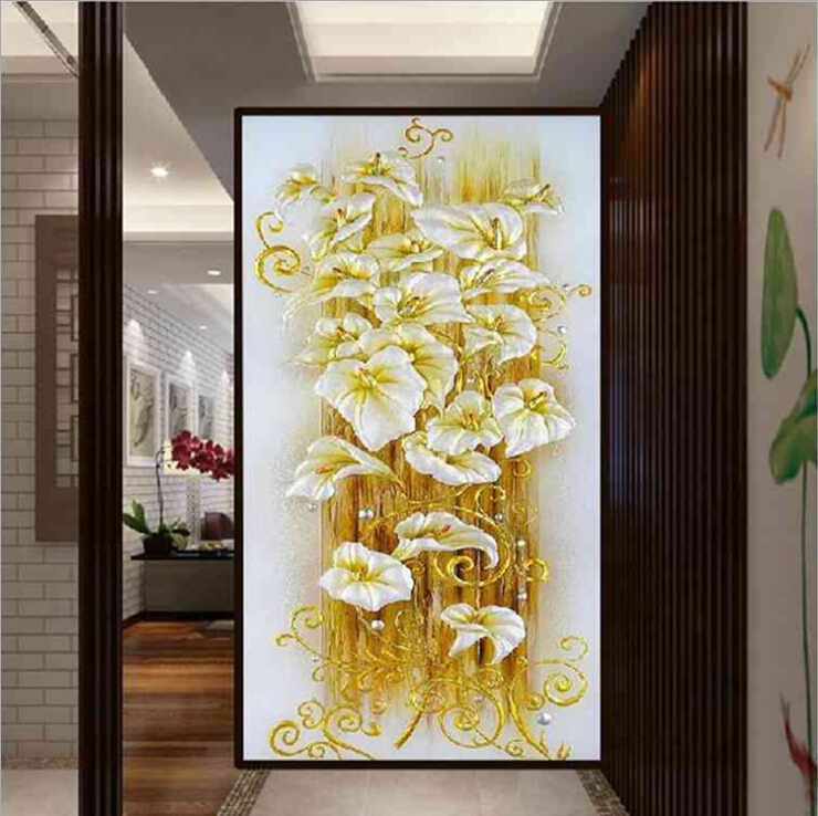 Needlework,DIY Cross stitch,Sets For Embroidery kits,Shiny Gold Lily Flower Pattern Printed Scenic Cross-Stitch,Wall Home DecroNeedlework,DIY Cross stitch,Sets For Embroidery kits,Shiny Gold Lily Flower Pattern Printed Scenic Cross-Stitch,Wall Home Decro