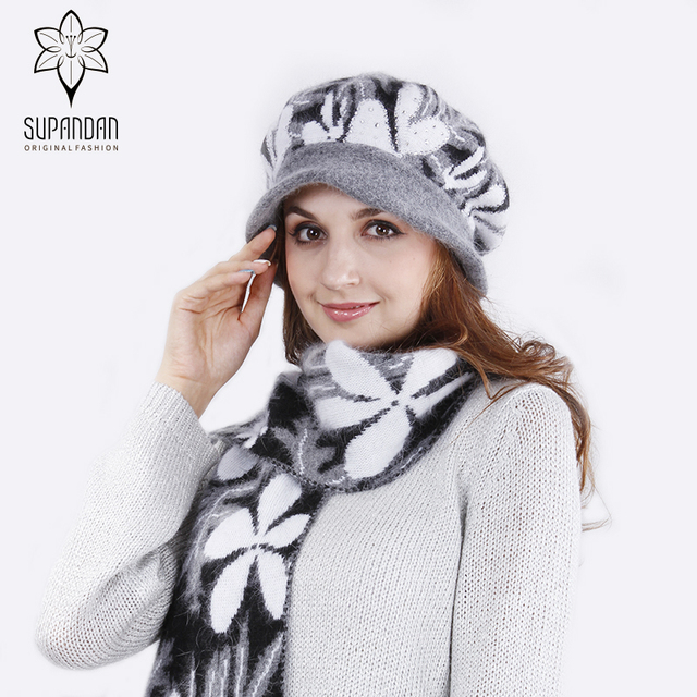 SUPANDAN NEW Women Winter Hats Scarves Set Wool Female Two Pieces Thick  Casual Elegant Knitted Hats Winter Accessories 8448BYA aeb31c52168