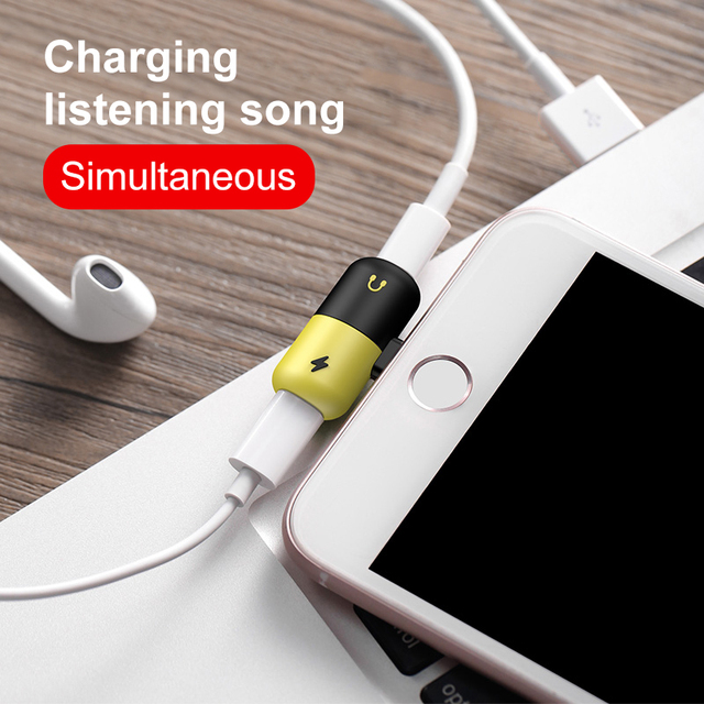 the latest acbf8 e5bb6 US $2.0 50% OFF 2 in 1 for Lightning Adapter For iPhone 7 Charging Adapter  For apple Iphone 8 7 Plus 10 X XS Charger Splitter Headphone Adapter on ...