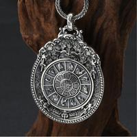 Large 925 Silver Nine Direction Eight Symbols Amulet Sterling Tibetan Direction Symbol Pendant Necklace Buddhist Vajra Pendant.