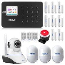 KERUI W18 ワイヤレス WiFi GSM 警報システムアンドロイド IOS アプリ制御ホームセキュリティ警報 pir motion ドアセンサー IP カメラ